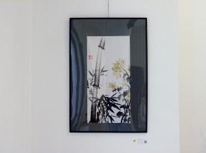 (Vendido) Crisantemo y Bambú - Pintura japonesa sumi-e